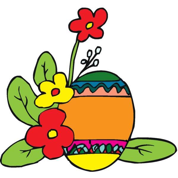 Disegno di Uova di Pasqua con Fiori a colori