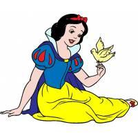 disegno di Biancaneve con Uccellino a colori