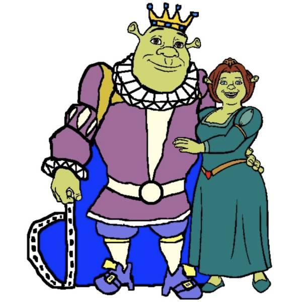 Disegno di Re Shrek e Regina Fiona a colori