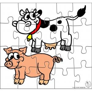 Disegno di puzzle di animali della fattoria a colori per for Stampe di fattoria gratis