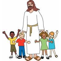Disegno di Gesù con i Bambini a colori