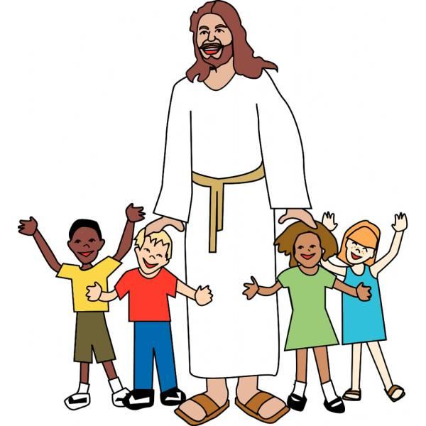 Disegno di gesù con i bambini a colori per