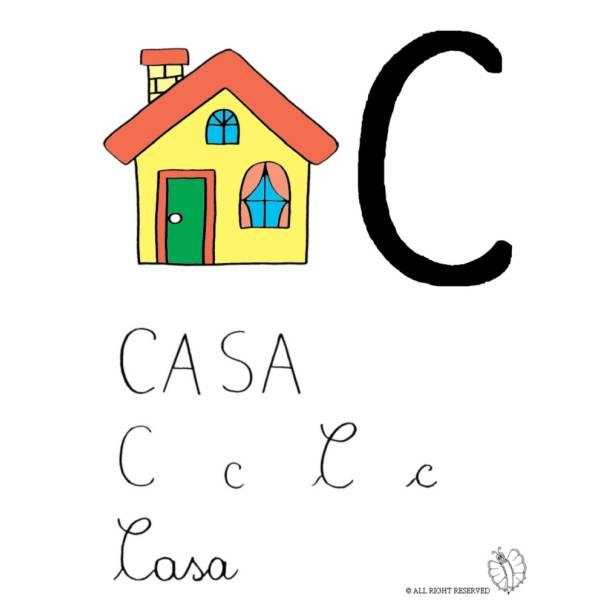 Disegno di Lettera C di Casa a colori