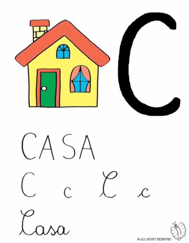 Disegno di lettera c di casa a colori per bambini for Disegno casa bambini