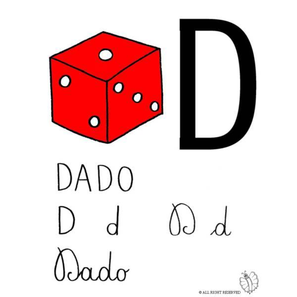 Disegno di Lettera D di Dado a colori