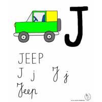 disegno di Lettera J di Jeep a colori