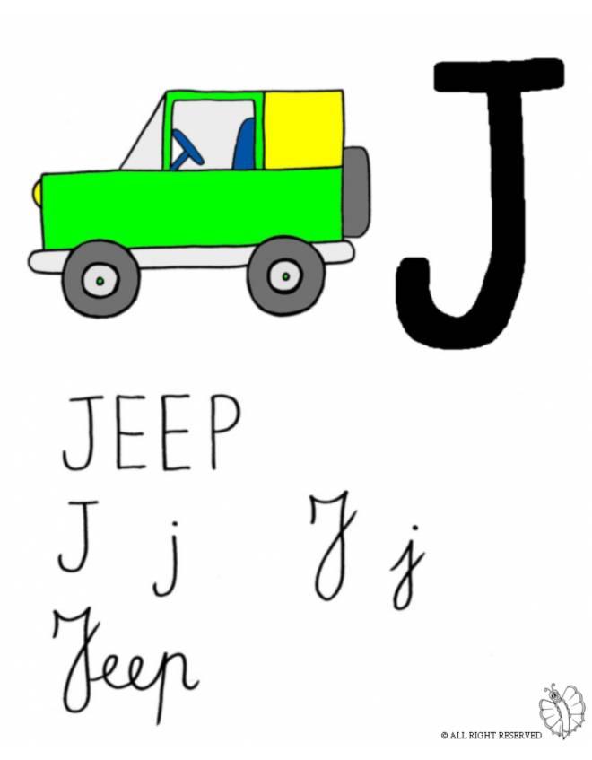 Disegno di lettera j di jeep a colori per bambini