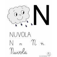 disegno di Lettera N di Nuvola a colori