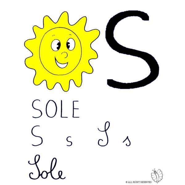 Disegno di Lettera S di Sole a colori