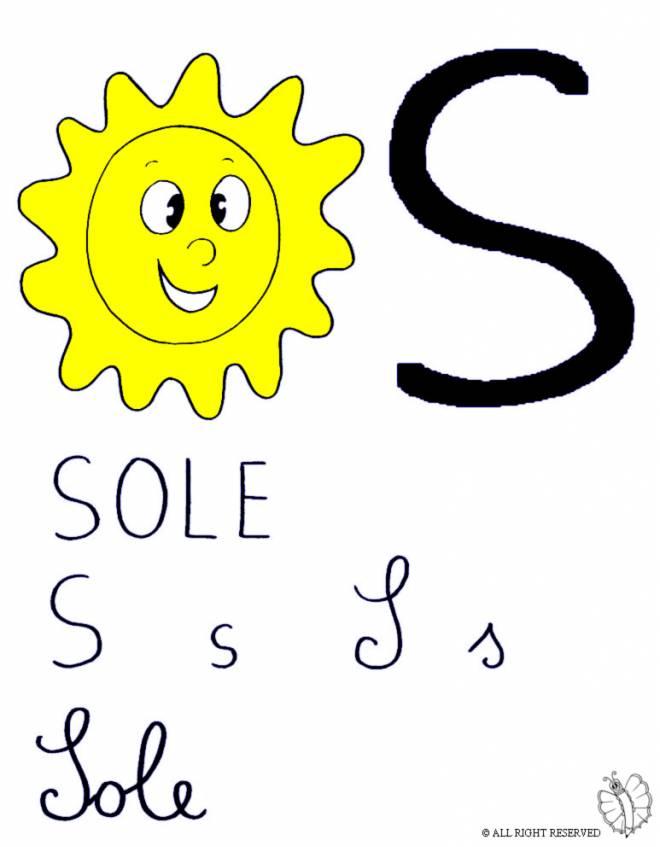 Disegno di lettera s di sole a colori per bambini