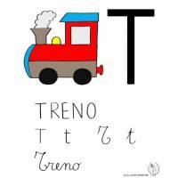 disegno di Lettera T di Treno a colori