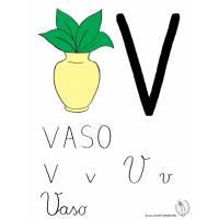 disegno di Lettera V di Vaso a colori