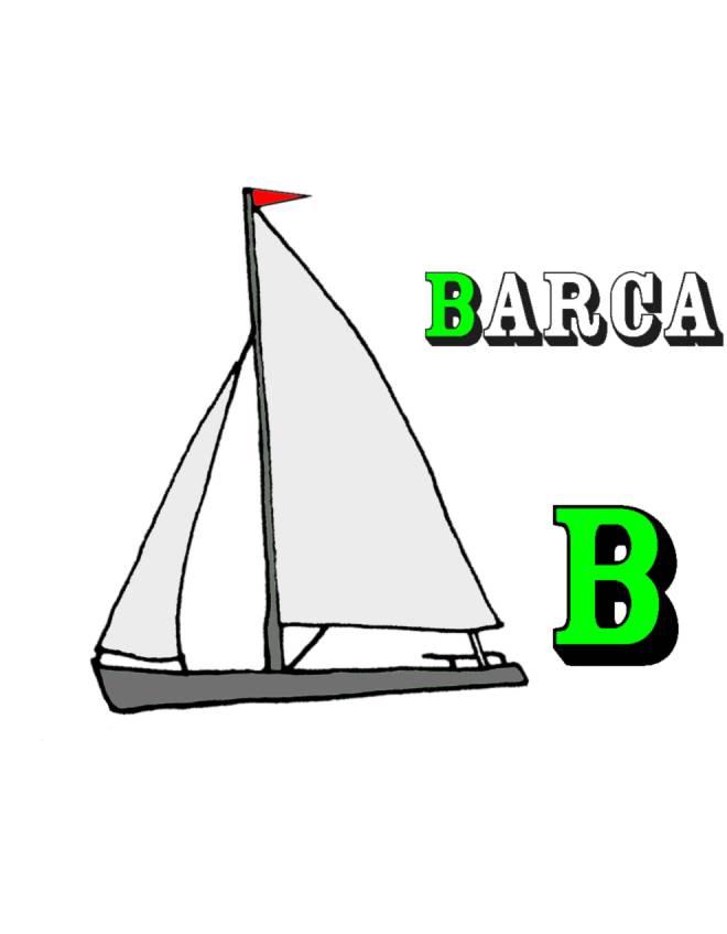 Disegno di scheda lettera b a colori per bambini