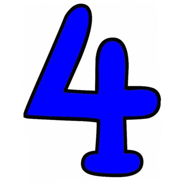 Disegno di numero quattro a colori per bambini - Numeri per tavoli da stampare ...