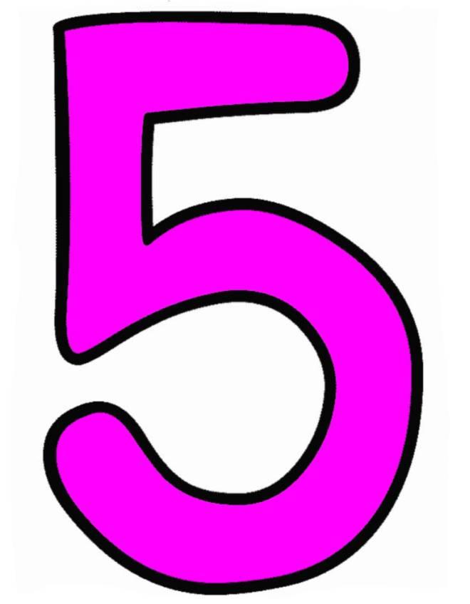 disegno di Numero Cinque a colori