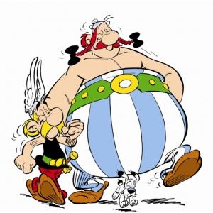 Disegno di Asterix e Obelix a colori