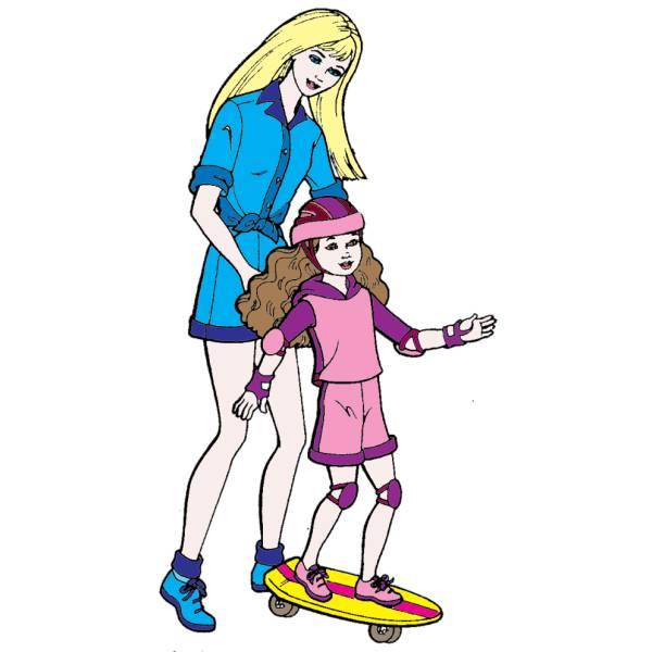 Disegno di Barbie e lo Skate a colori