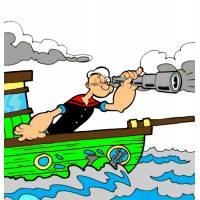 Disegno di Braccio di ferro in Barca a colori