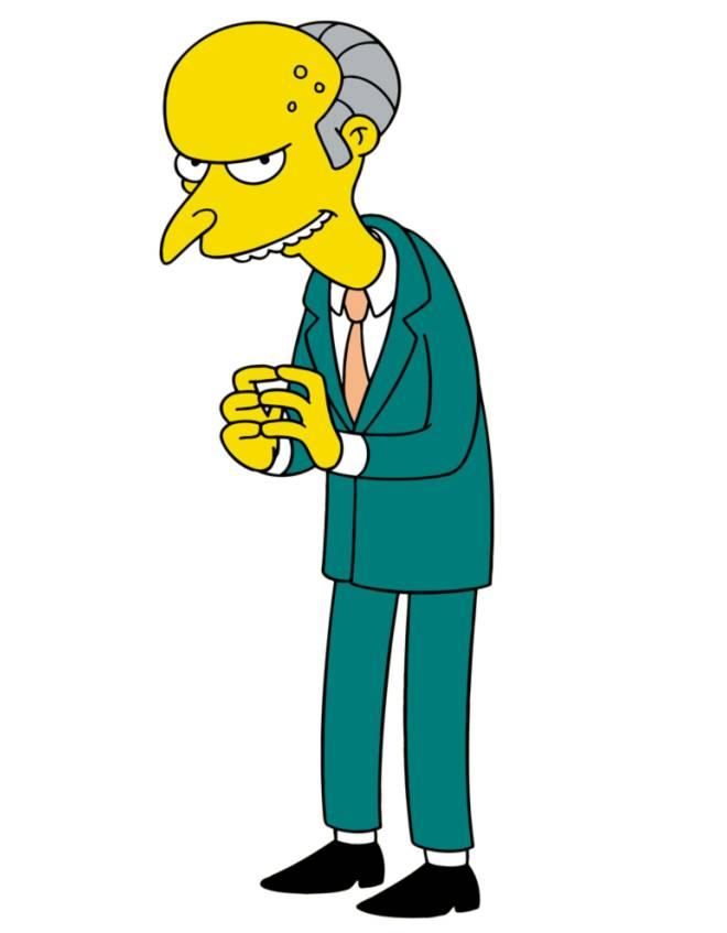 disegno di Signor Burns dei Simpson a colori