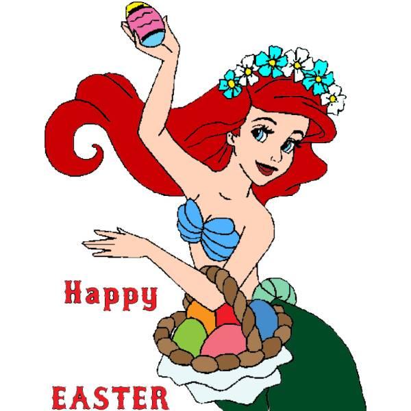 Disegno di Ariel Buona Pasqua a colori