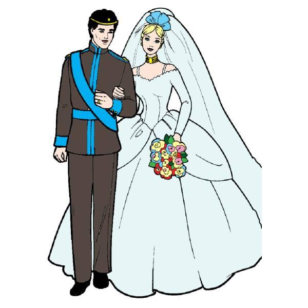 Disegno di barbie e ken sposi a colori per bambini for Barbie colora vestiti