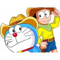 Disegno di Doraemon e Nobita a colori