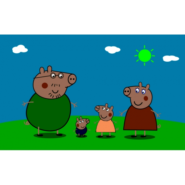 Disegno di La Famiglia di Peppa Pig a colori