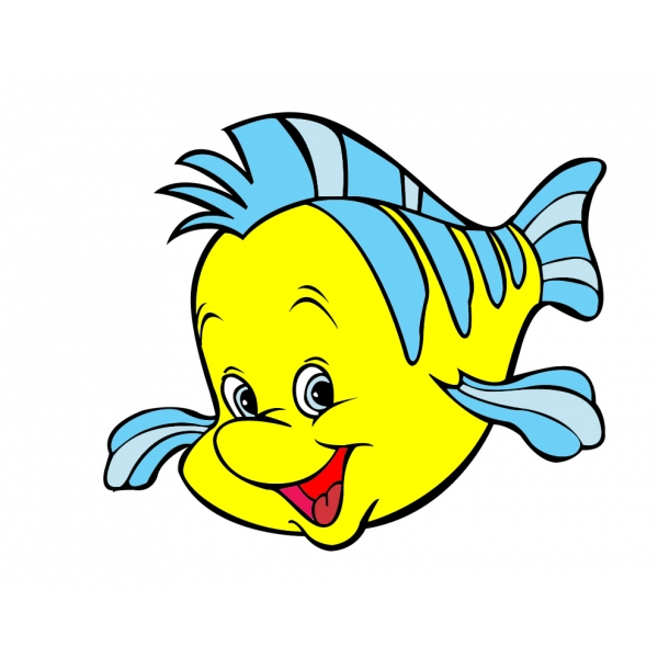 Disegno di pesce flounder della sirenetta a colori per
