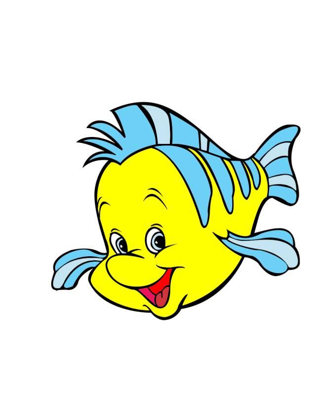 Stampa disegno di pesce flounder della sirenetta a colori for La sirenetta da stampare