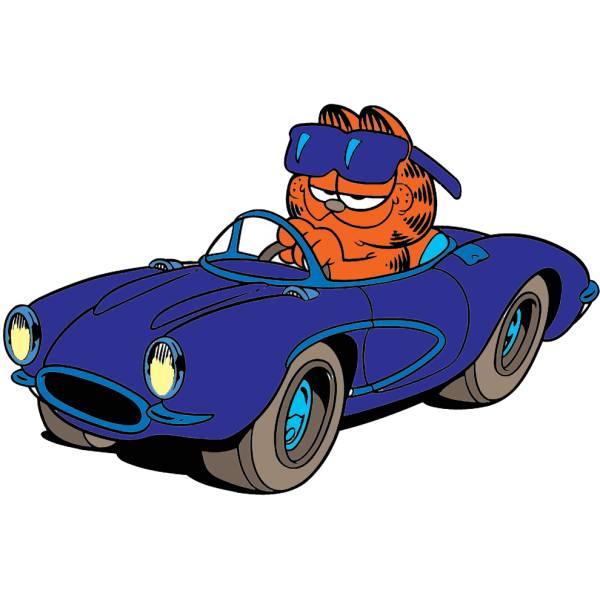Disegno di Garfield in Auto a colori