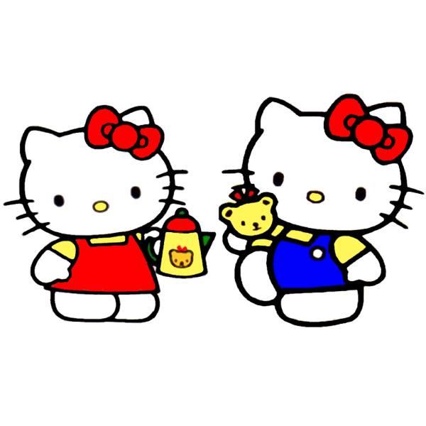 Disegno di hello kitty col caffè a colori per bambini
