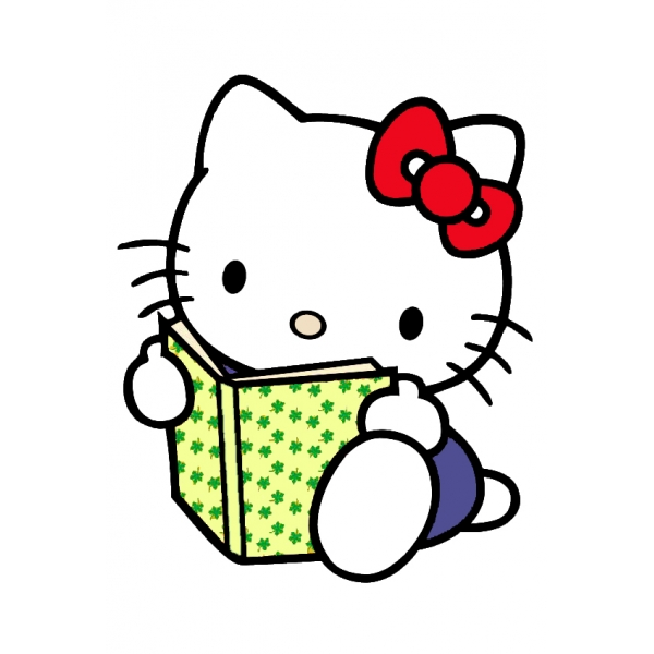 Disegno di hello kitty col libro a colori per bambini