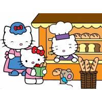 Disegno di Hello Kitty Family a colori