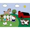 Disegno di Hello Kitty nella Fattoria a colori