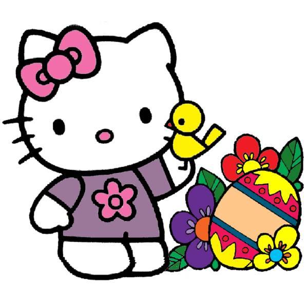 Disegno di hello kitty pasqua a colori per bambini