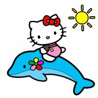 Disegno di Hello Kitty sul Delfino a colori