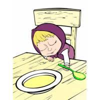 Disegno di Masha che Dorme sul Tavolo a colori