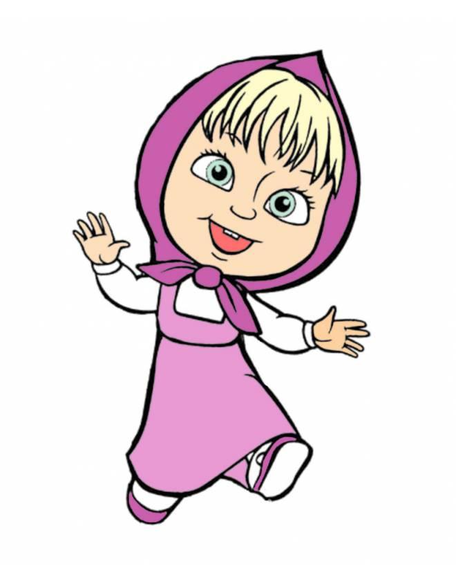 Disegno di masha che gioca a colori per bambini for Masha e orso stampa e colora