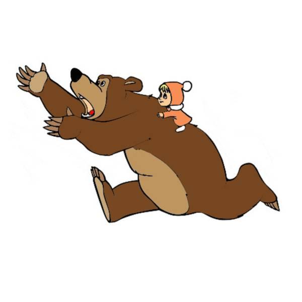 Disegno di masha e orso a colori per bambini