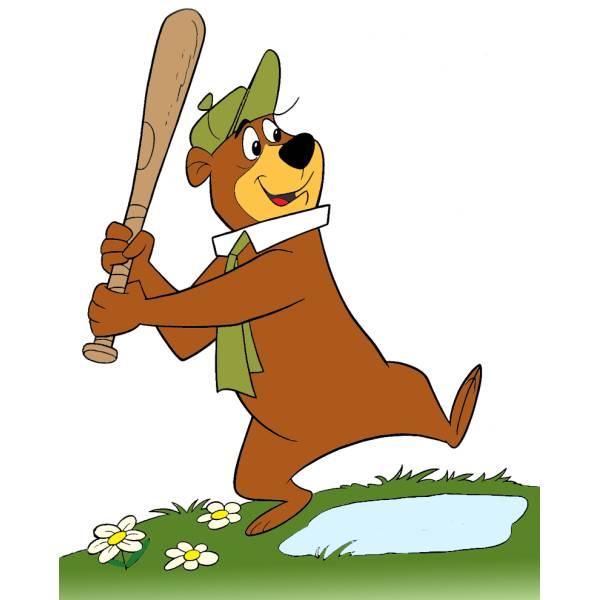 Disegno di orso yoghi baseball a colori per bambini
