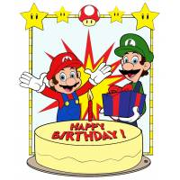Disegno di Super Mario Buon Compleanno a colori