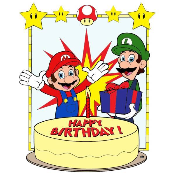 disegno di super mario buon compleanno a colori per bambini