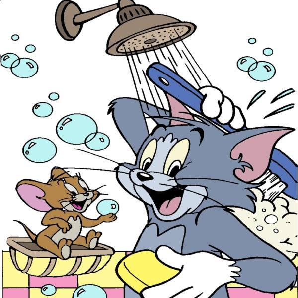 Disegno di tom jerry sotto la doccia a colori per