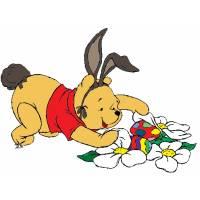 Disegno di Winnie Pooh Pasqua a colori