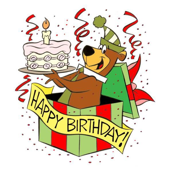 Disegno di yoghi happy birthday a colori per bambini