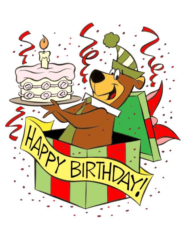 Disegno di yoghi happy birthday a colori per bambini for Disegno orso per bambini