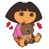 Disegno di Dora con Orsetto a colori