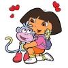 Disegno di Dora con la Scimmietta a colori