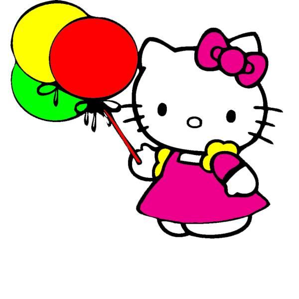 Disegno Di Hello Kitty Con Palloncini A Colori Per Bambini