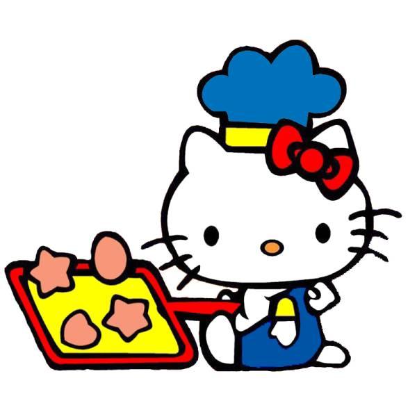 Disegno di Hello Kitty in Cucina a colori